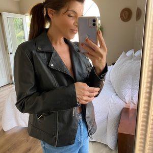 Vegan Faux Leather Moto Jacket Black Medium